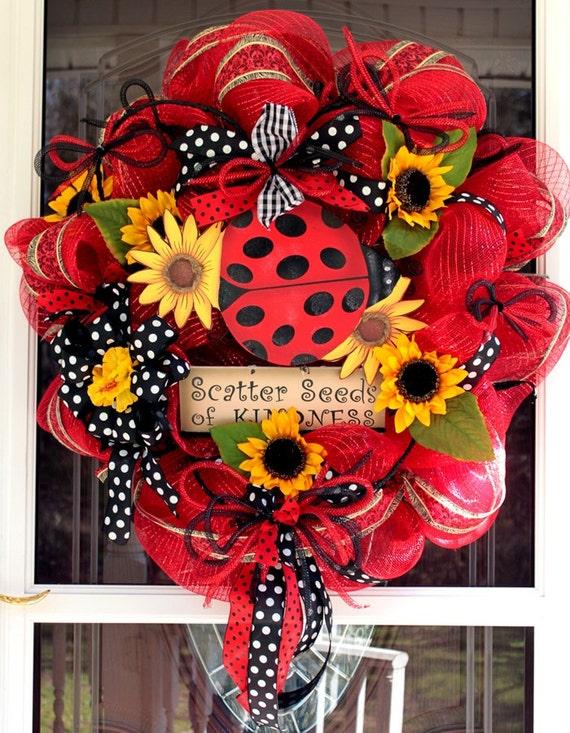 Spring Lady Bug Wreath