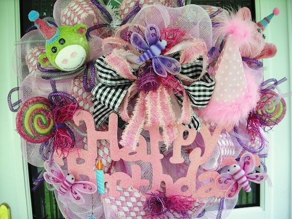 Sale Birthdays Deco Mesh Wreath