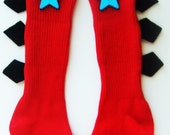 Red stegosaurus black spike Dino socks size 12-24months