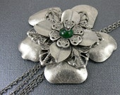 Flower necklace, metal flower necklace, glass and metal beads necklace with metal flower centerpiece