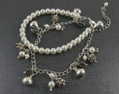 Charm bracelet, tear drop charm bracelel, pearl bracelet with crystal spacer beads, satin metal drops and base metal chain and crab clasp