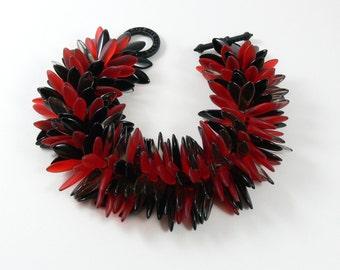 Daggers bracelet with base metal toggle, Czech glass daggers, black finish