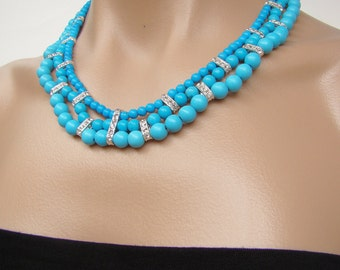 Turquoise blue necklace, handmade jewelry, beaded necklace, handcrafted necklace, Egyptian crystals, necklace