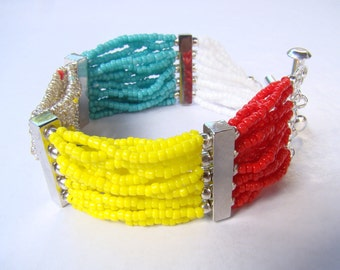Colorful seed beads bracelet, summer jewelry, handmade bracelet, red, turquoise, yellow, summer trend, multi strand bracelet