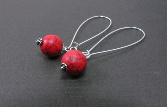 Turquoise earrings, red turquoise elongated earrings, dangle earrings, long earrings, silver dangle earrings, red earrings
