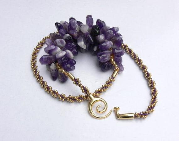 Handmade amethyst kumihimo necklace, beaded kumihimo necklace, handcrafted amethyst necklace, amethyst necklace, chunky amethyst necklace