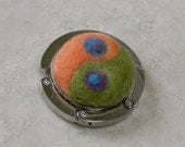 Needle-Felted Handbag Hook with Yin Yang and Peacock Design in Orange and Green -- Fun Purse Hanger