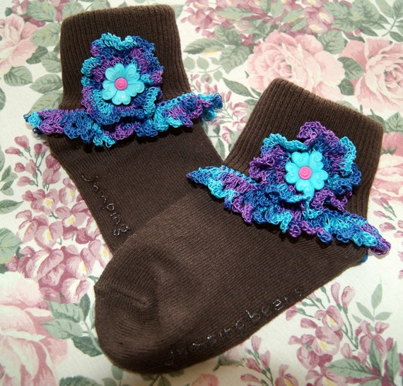 Girl's Socks with Custom Crochet Edging and Button - Size 2T to 4T Brown Socks with Variegated Blue and Purple Trim
