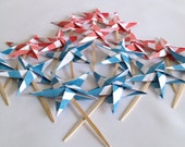 Fourth of July Origami Cupcake Toppers, Patriotic Party Picks, Stars and Stripes party Favors - set of 16