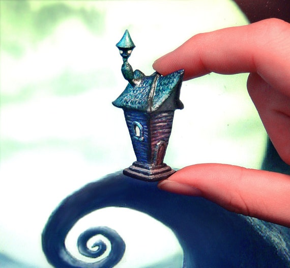 Polymer clay Tim Burton inspired house miniature, creepy haunted house, crooked halloween house
