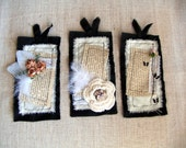 Fabric and Paper Tags, Set of Three Embellished Tags
