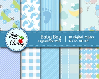 baby boy - 10 printable Digital Scrapbooking papers - 12 x12 - 300 DPI
