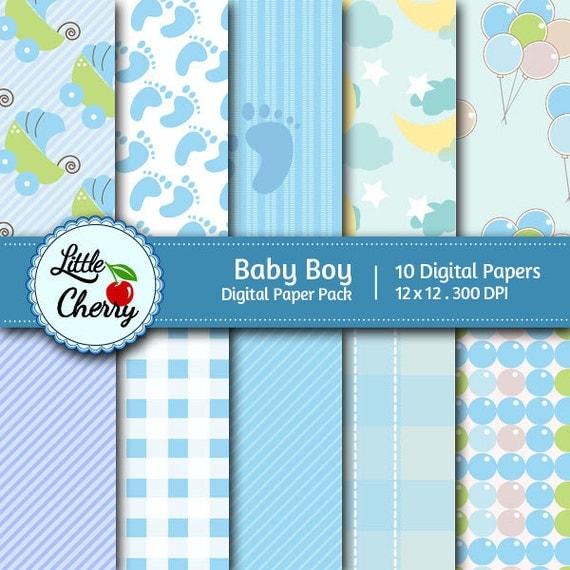 Italian Boy Name: Baby Boy 10 Printable Digital Scrapbooking Papers 12 X12
