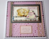 Handmade Wedding Card With Forever Friends Bears - this is a large 8 inch square card
