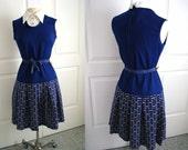 Vintage 1960s blue dress/ navy blue scooter dress/ school uniform dress/ blue and white