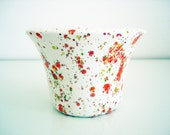 Vintage 70s speckled flower pot/ glazed ceramic planter/ retro home décor pottery/ abstract speckles in red orange green/ mod shabby chic