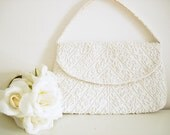 Vintage 40s floral beaded white purse/ by H.A. & E. Smith Bermuda Limited/ white bag/ Made in France