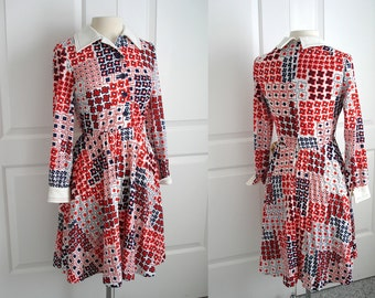 Vintage 70s geometric mod print dress/ red white and blue abstract print dress/ by PEDESTAL ORIGINALS
