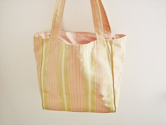 Vintage tote bag/ pink, green, and cream pastel stripes/ bright and cheery/ preppy look/ cotton sateen