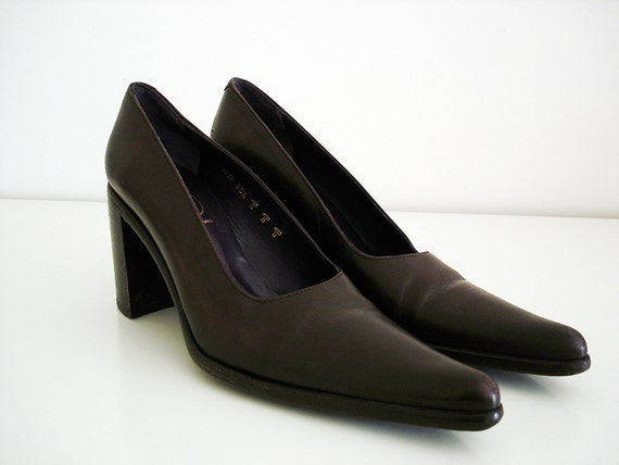 Vintage 90s FREE LANCE shoes/ dark brown leather high heel shoes/ French designer shoes/ Made in France/ Limited edition/ Size 5.5 or 6