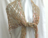 Crochet mesh summer shawl scarf in earthy pastels