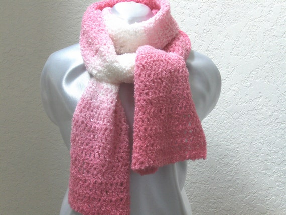 RESERVED for Lindsay Pink & white crochet scarf shawl