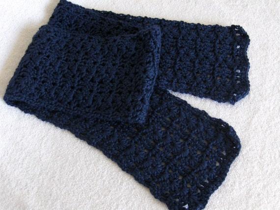 Crochet scarf neckwarmer scarflette dark blue