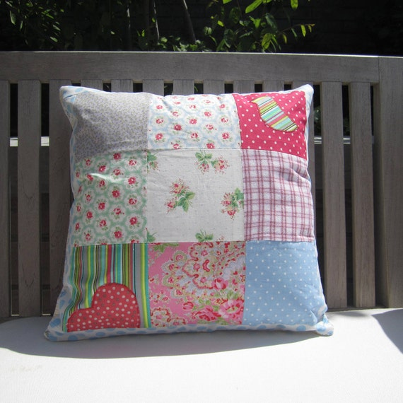 I Heart Birdies Patchwork Cushion Cover with Blue Spotty Border