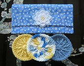 Quilted Crocheted Facial Cleansing Puff Pockets - includes 3 coordinating facial puffs/scrubs