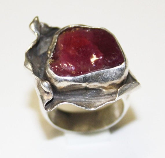 Red Ruby Ring Free Form  Size 6  Featured in Several Treasuries