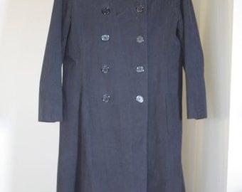 vintage womens maxi coat black faux suede