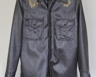 vintage western shirt jacket pleather cruelty free