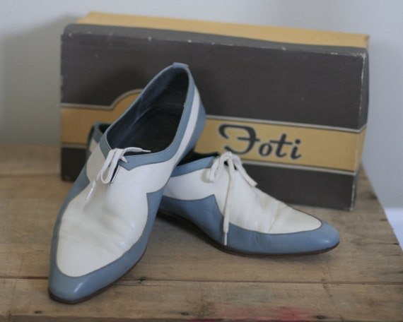 Vintage Mens Two Tone Baby Blue And White Italian Shoes