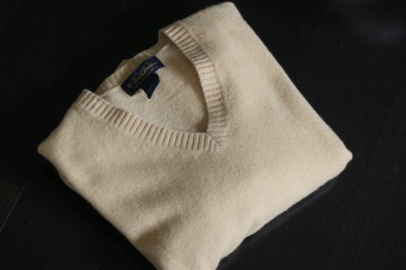 vintage mens brooks brothers lambs wool vee neck sweater