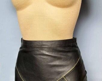 Womens Super Sexy Black Mini Skirt 100% Genuine Leather New