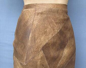 Womens Velvet  Brown Mini Skirt 100% Genuine JUNGLE Leather New