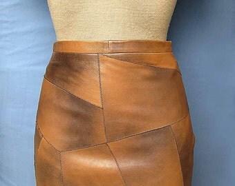 Womens Brown Mini Skirt 100% Genuine MARBELLA Leather New