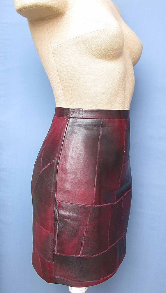 Womens Burgundy Mini Skirt 100% Genuine bordo Leather New