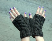 cable fingerless mittens - dark grey almost black