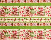 Strawberry Shortcake Garden Fun stripe prints Flannel fabric by the yard