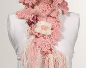On Sale. PINK. For her. Pink Scarf. Crochet Scarf. Valentine Scarf. Crochet belt. Hand made. Holiday scarf.