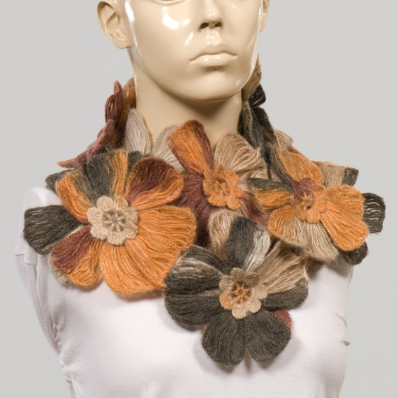 Crochet SCarf. Valentine's Scarf. shades of brown - orange scarf. A lot of big flower on your neck.Hand made scarf for woman