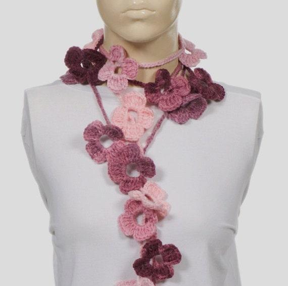 ON SALE. PINK Scarf. Crochet Scarf. Long Scarf. Crochet belt. Spring flowers lariat scarf.