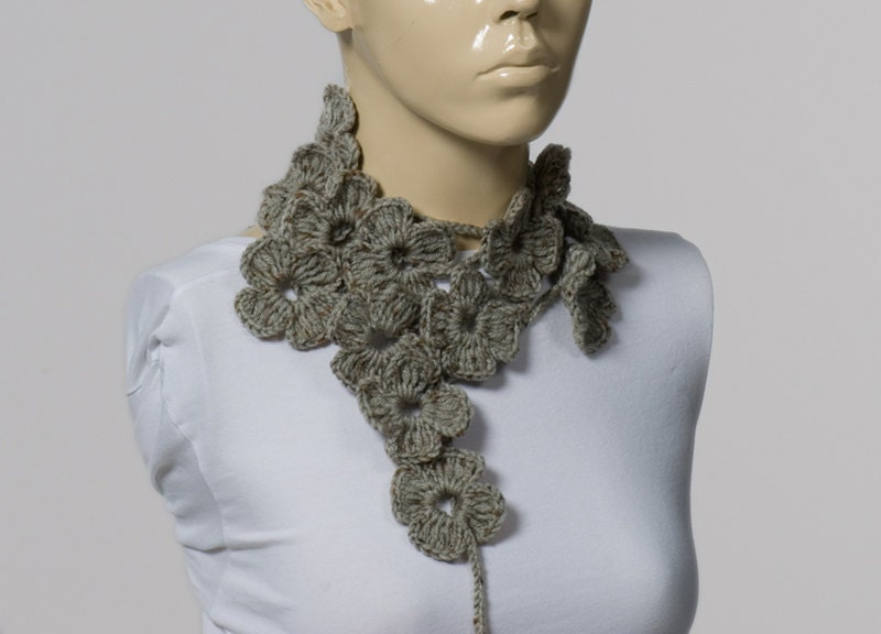 ON SALE Holiday Crochet Sarf Valentines Scarf Crochet belt Grey  Crochet Scarves For Sale