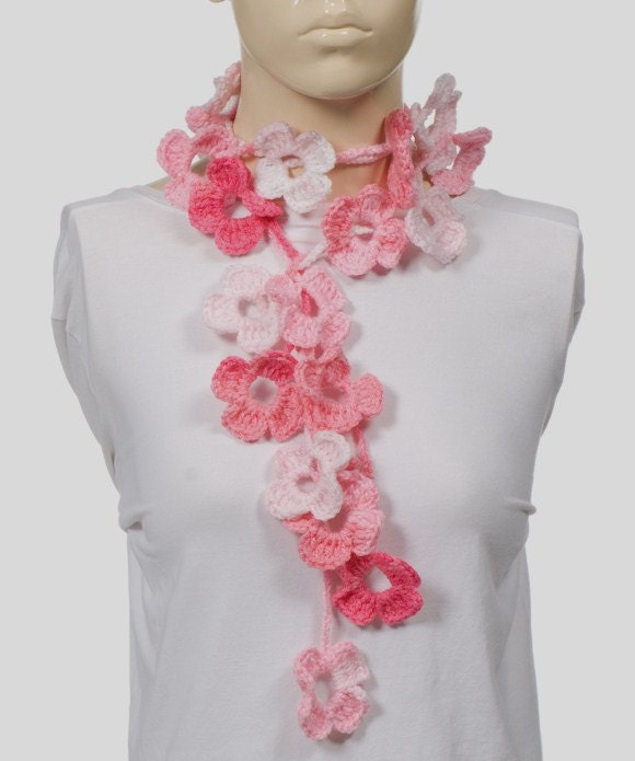 ON SALE Spring flowers lariat scarf Pink Crochet by CROCHETTT Crochet Flower Scarves
