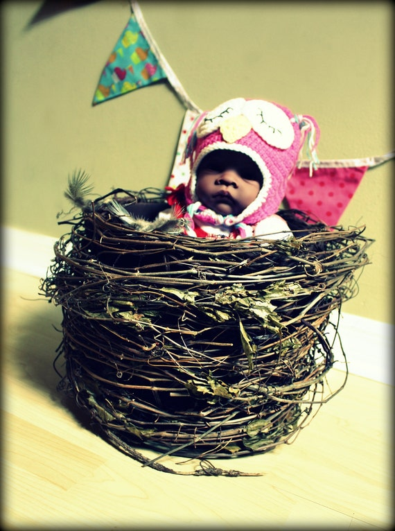 """Tall Owl Nest Infant Photo Prop 11"""" wide x 10.5"""" tall"""