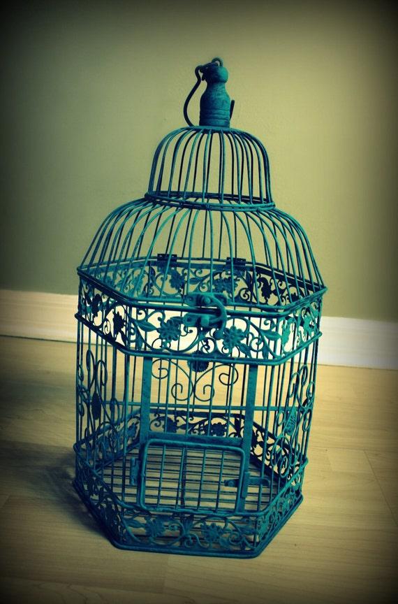 Turquoise Bird Cage Decorative Piece Or Wedding Card Holder