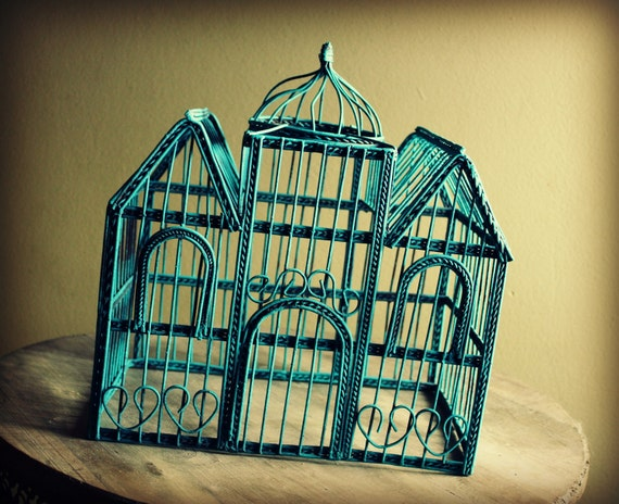 Large Turquoise Castle Style Bottomless Vintage Birdcage