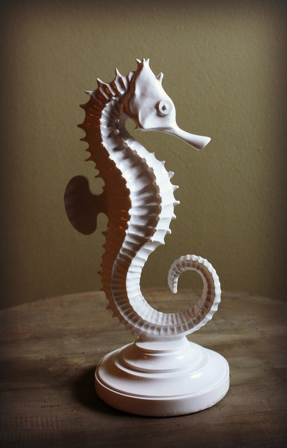 Vintage Repainted Large Seahorse Home Decor By Theprincesprops
