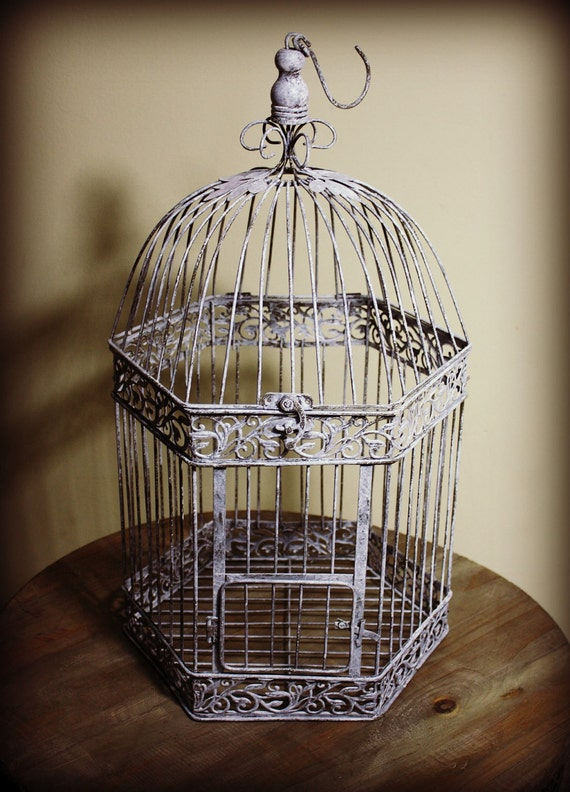 Extra Large Metal White Weathered Bird Cage/Wedding Card Holder